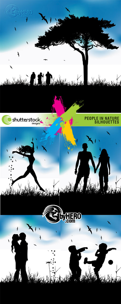 People in Nature Silhouettes 5xEPS Vector SS