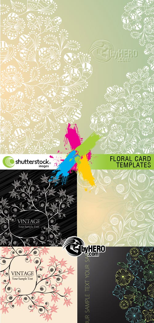 Floral Card Templates 5xEPS Vector SS