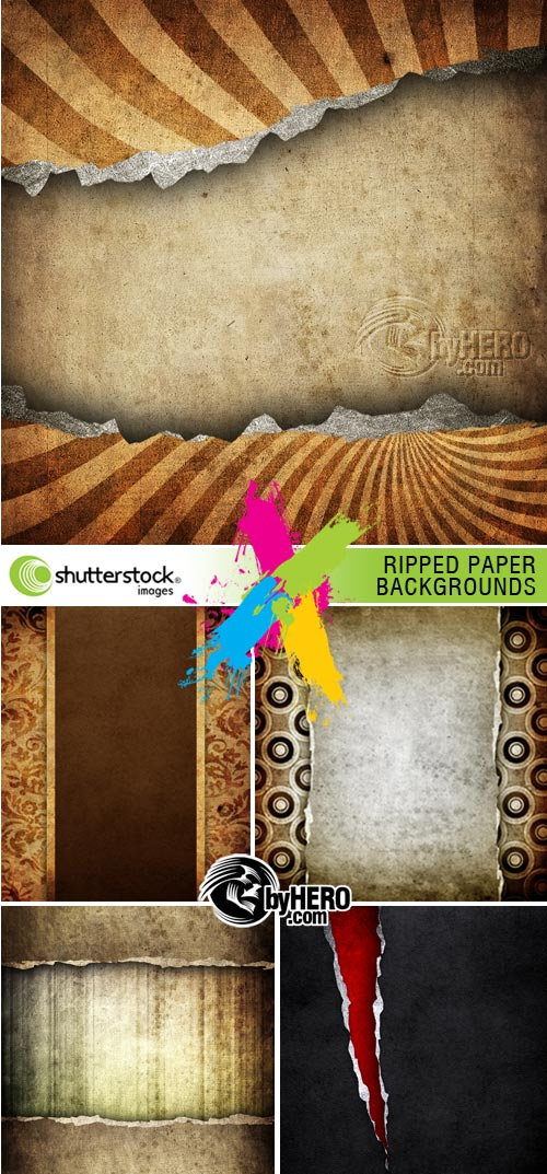 Ripped Paper Backgrounds 5xJPGs Stok Image SS