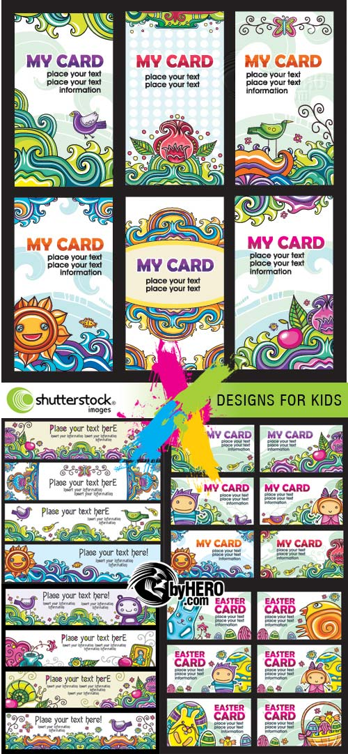 Card Designs for Kids 5xEPS Vector SS