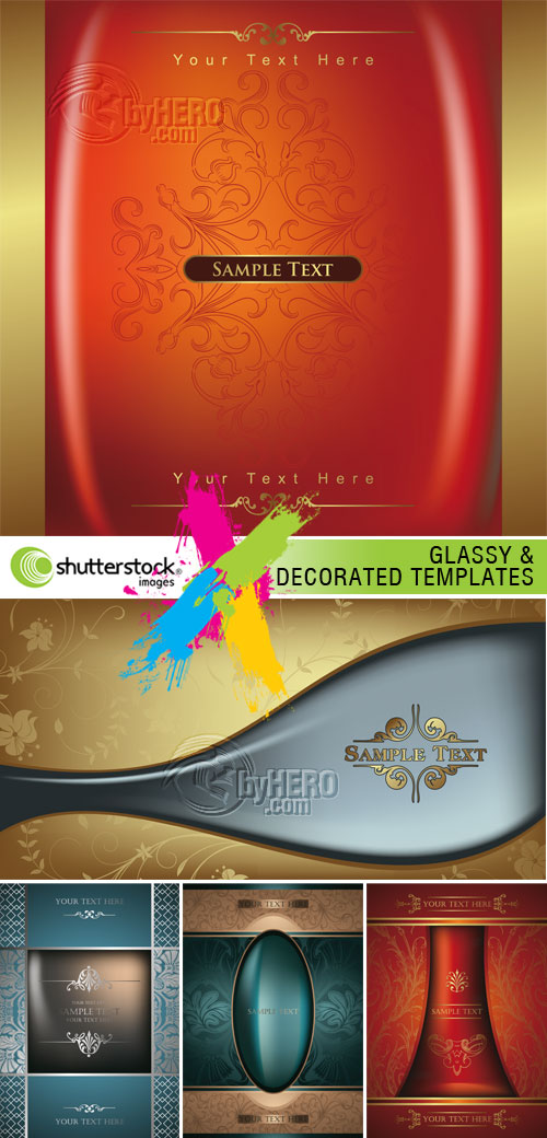 Glassy and Decorative Templates 5xEPS Vector SS