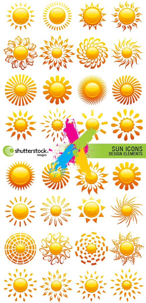 Sun Icons, Design Elements 2xEPS Vector SS