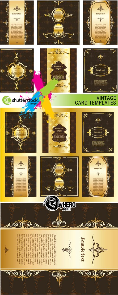 Vintage Card Templates 3xEPS Vector SS