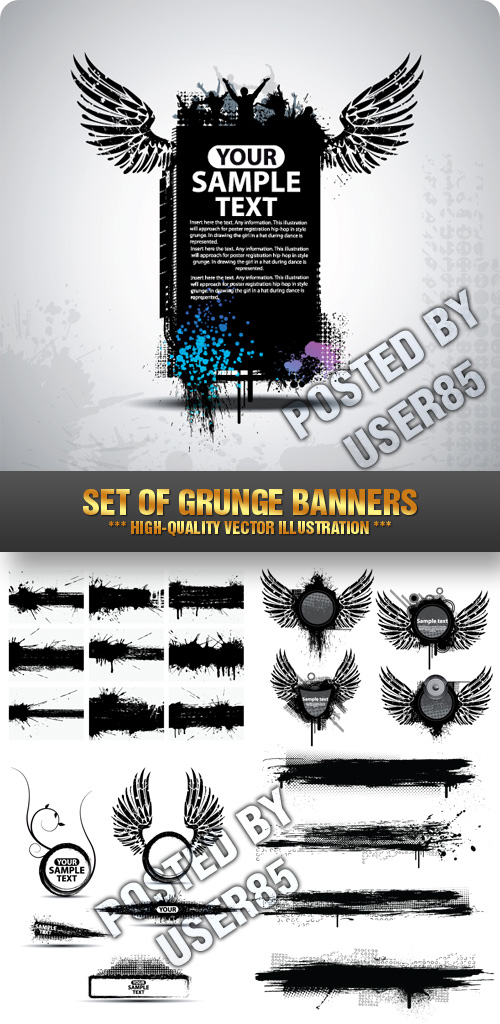 Stock Vector - Set of Grunge Banners