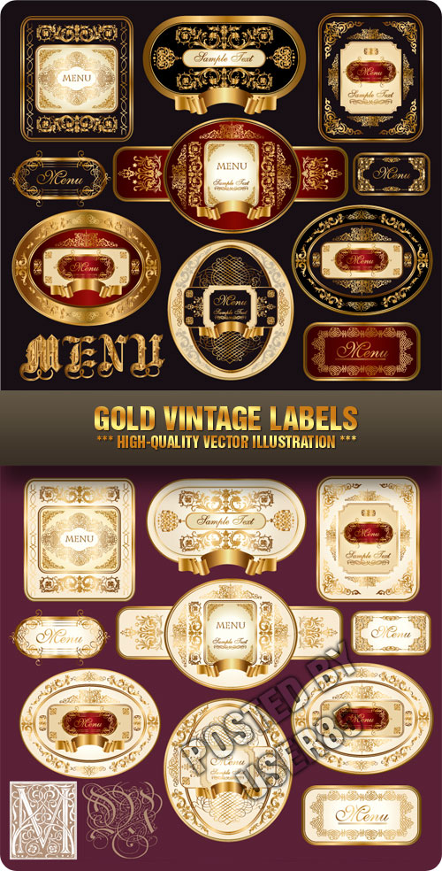 Stock Vector - Gold Vintage Labels