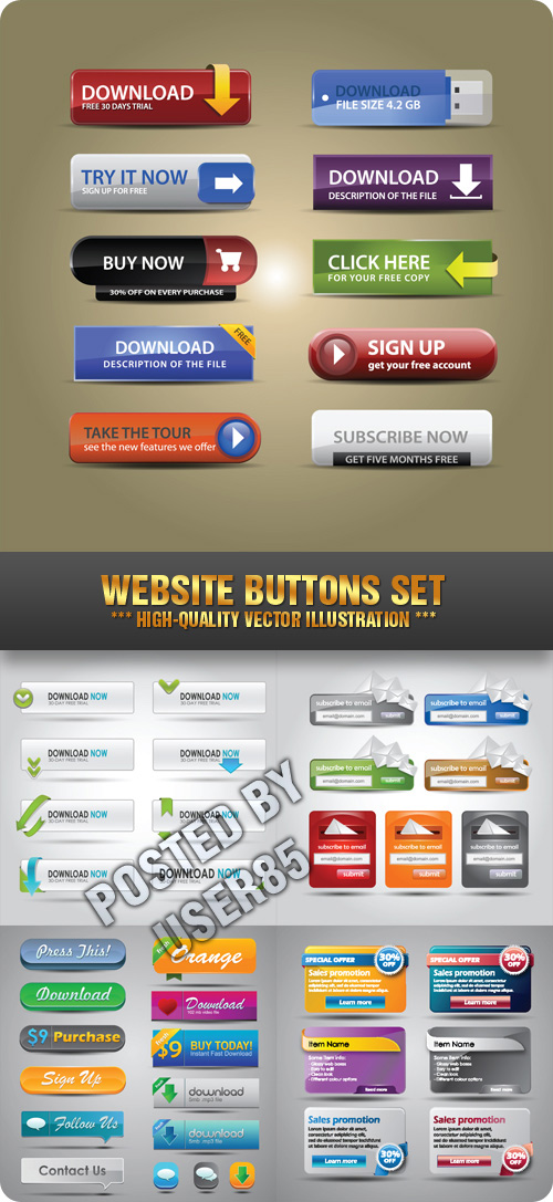 Stock Vector - Website Buttons Set