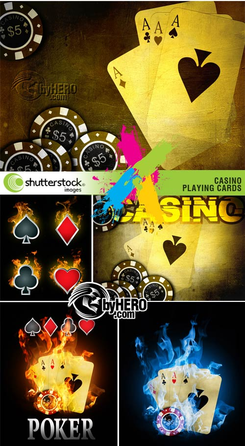 Casino, Playing Cards Backgrounds 5xJPGs Stock Image