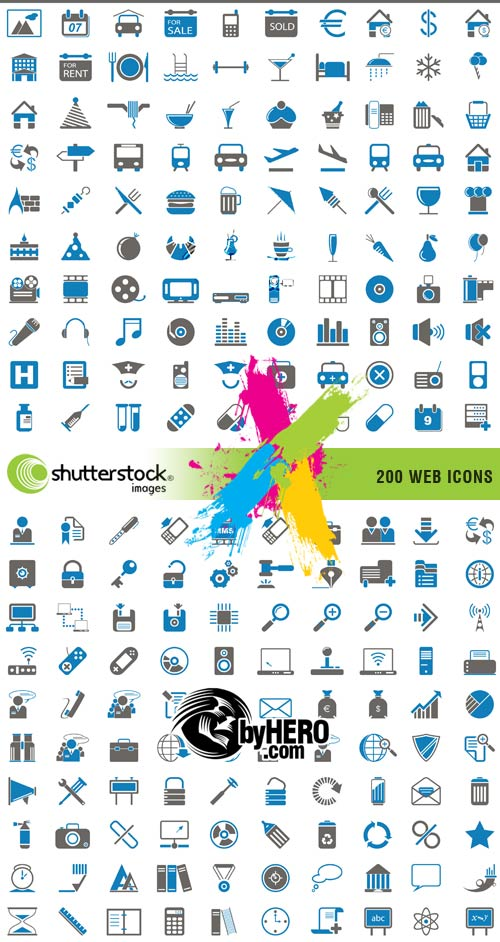 200 Web Icons 2xEPS Vector SS