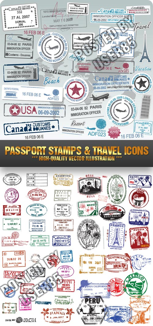 Stock Vector - Passport Stamps & Travel Icons