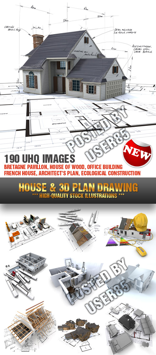 Stock Photo - House & 3D Plan Drawing