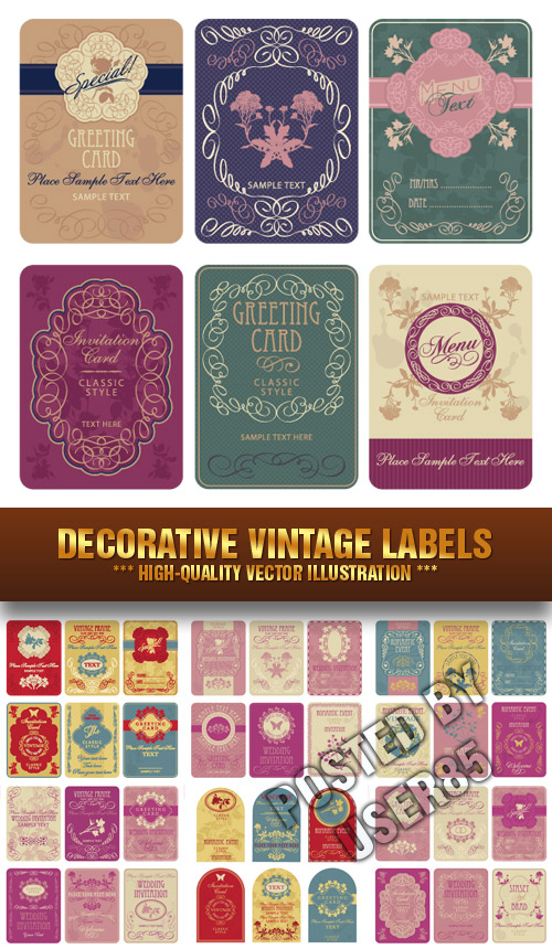 Stock Vector - Decorative Vintage Labels