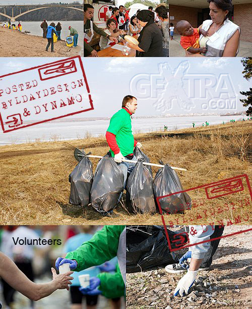 Stock Photo - Red Cross workers and green ecology Volunteers