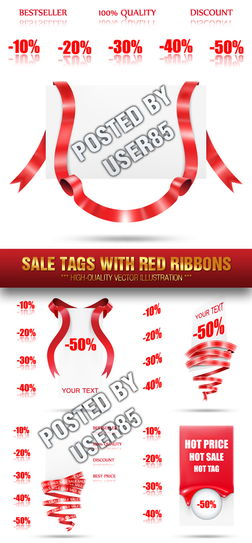 Stock Vector - Sale Tags with Red Ribbons