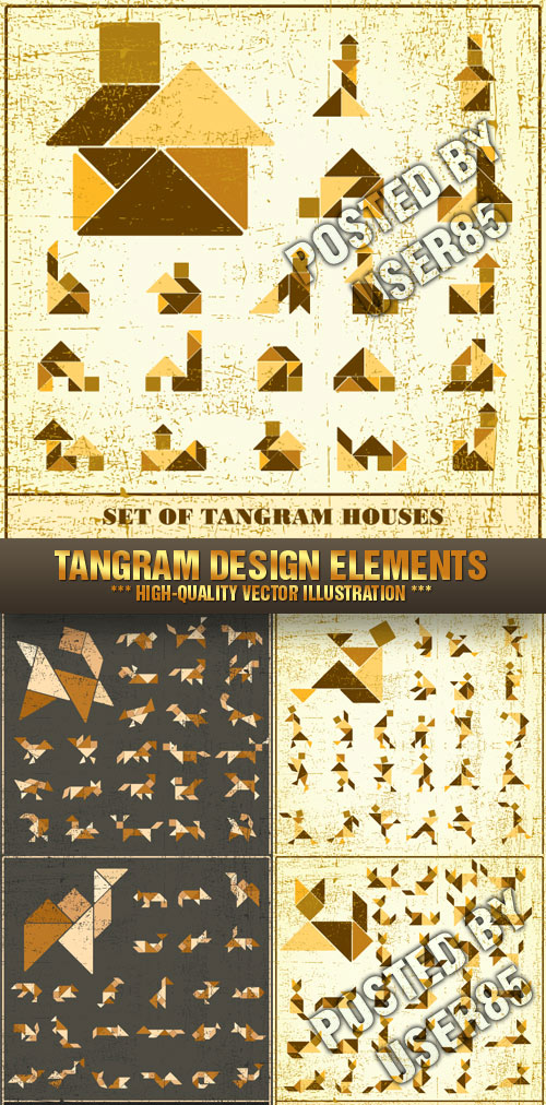 Stock Vector - Tangram Design Elements