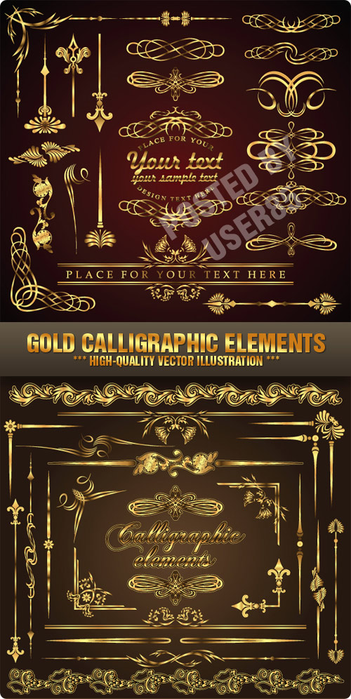 Stock Vector - Gold Calligraphic Elements
