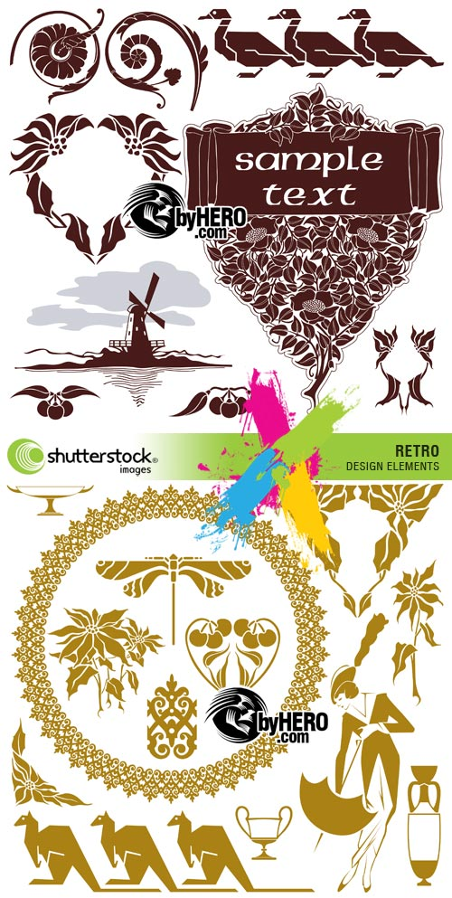 Retro Design Elements 2xEPS Vector SS