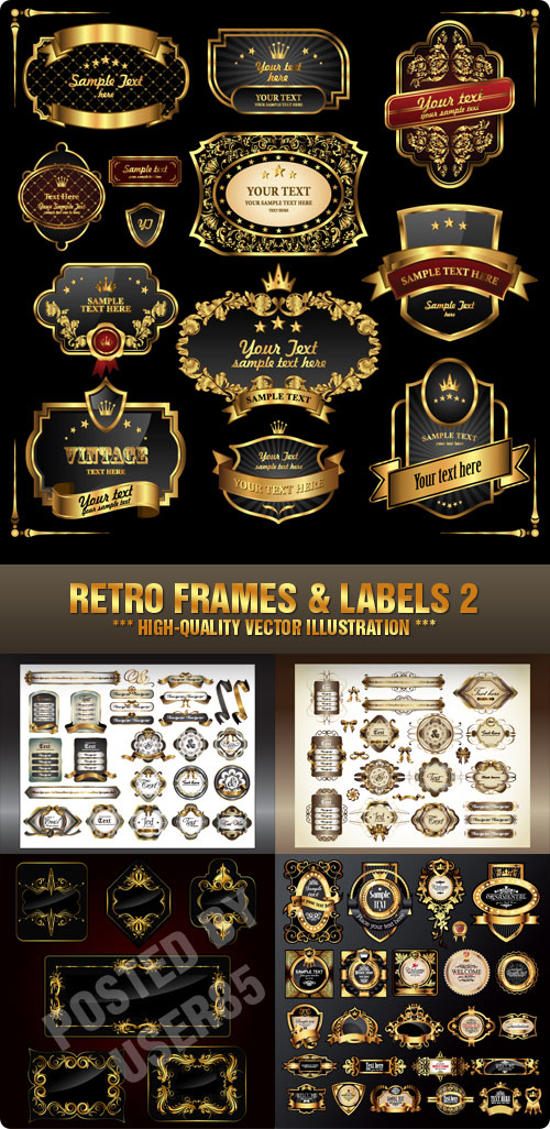 Stock Vector - Retro Frames & Labels 2