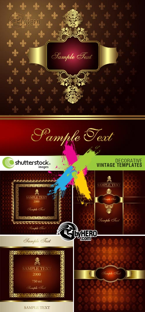 Decorative Vintage Templates 5xEPS Vector SS