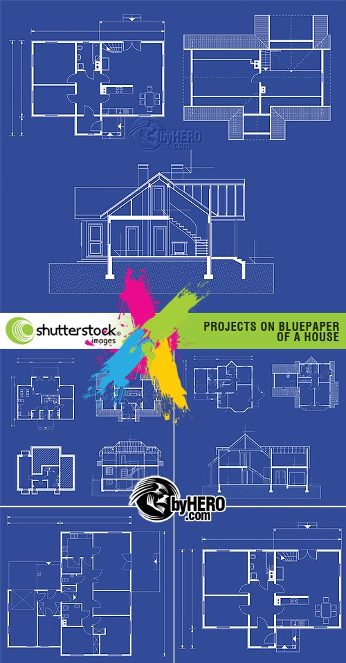 Projects on Bluepaper of a House 5xEPS Vector SS
