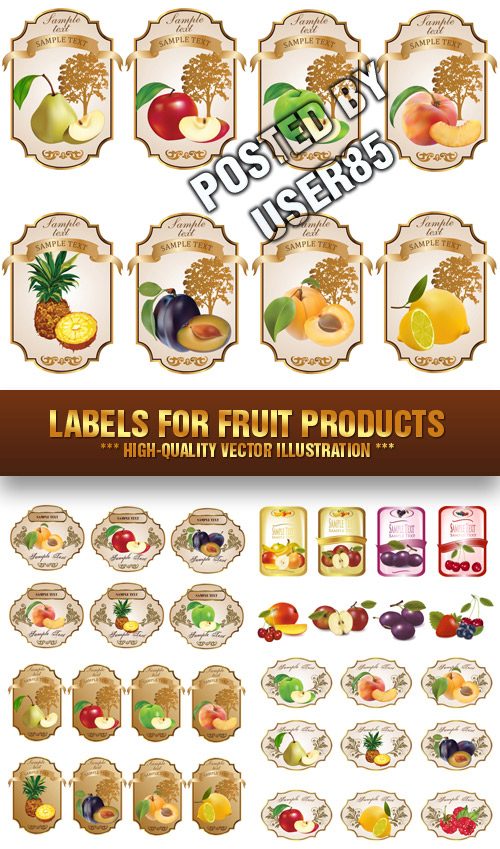 Stock Vector - Labels for Fruit Products