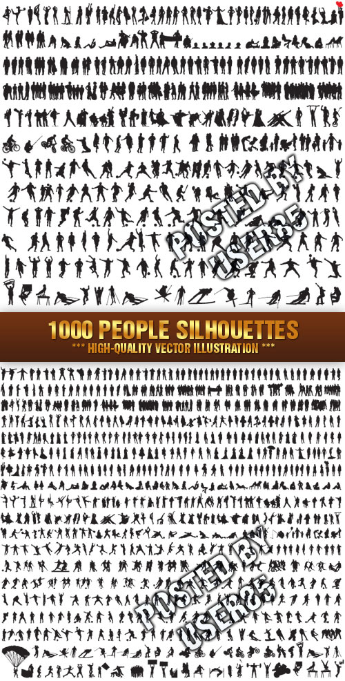Stock Vector - 1000 People Silhouettes