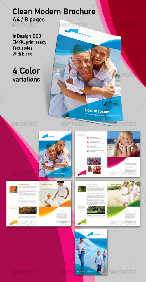 Clean Modern Brochure A4 8 Pages - GraphicRiver