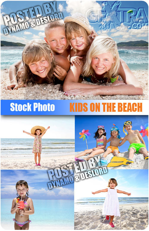 Kids on the beach - UHQ Stock Photo