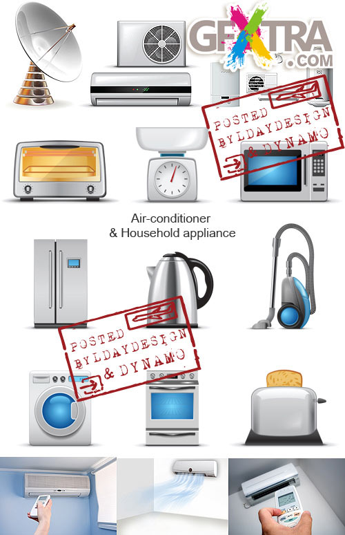 Stock Vectors - Icons of Household appliance and air-conditioner