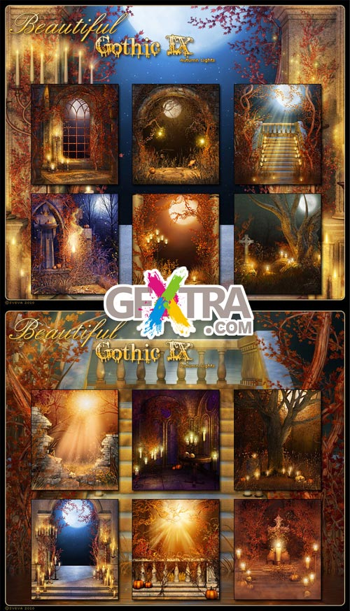 Beautiful Autumn Gothic Backgrounds-9, 12xJPGs