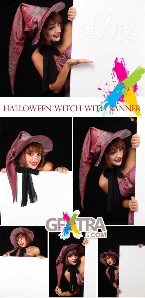 Stock Images - Halloween Witch with Banner 6xJPGs