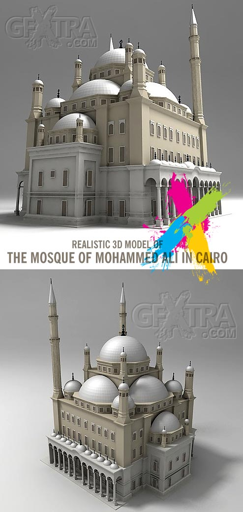 Realistic 3D Model of  Mosque of Mohammed Ali in Cairo