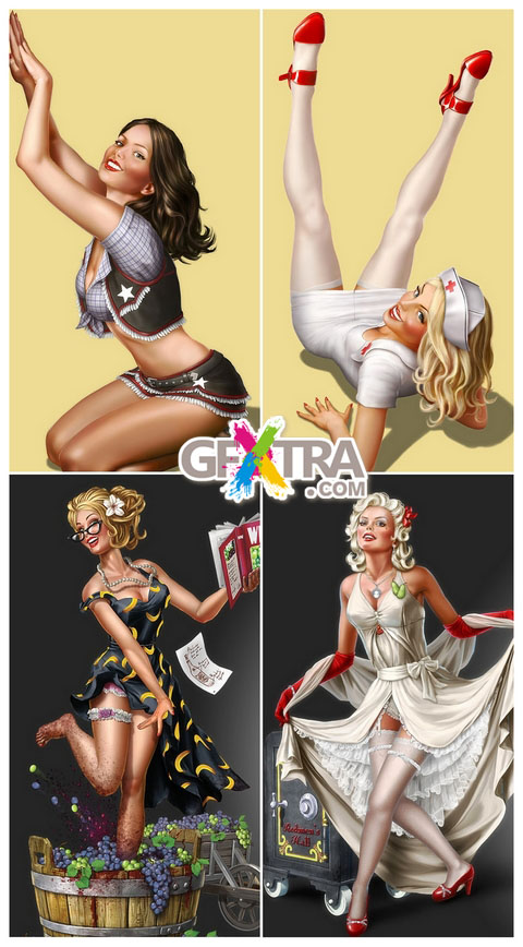 Collection of works by the artist Henning Ludvigsen - Pin-up