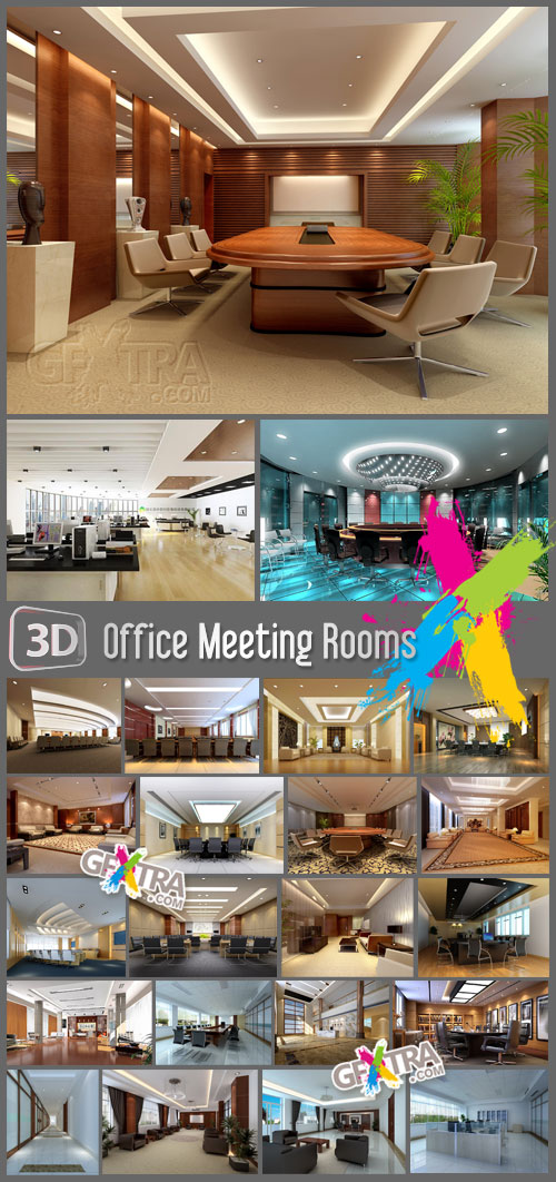 Office Meeting Rooms - 24 3D Models *.max