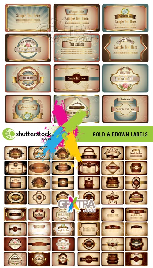 Gold & Brown Labels 5xEPS - SS
