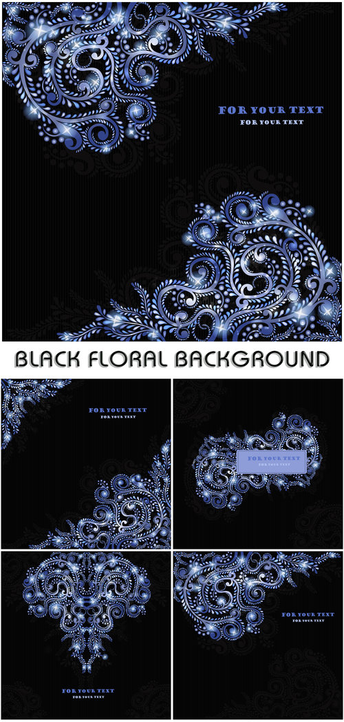 Black floral background vector