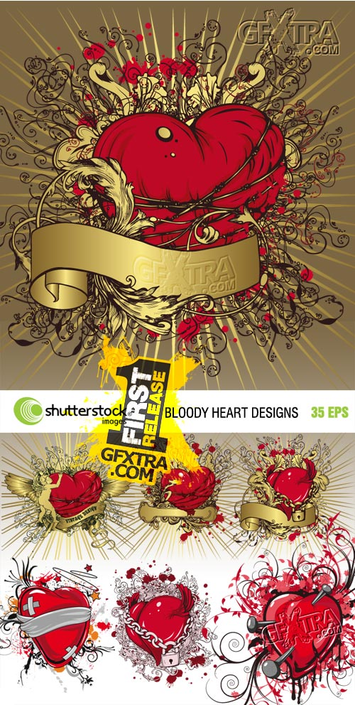 Bloody Heart Vector Designs for Fashion - 35xEPS