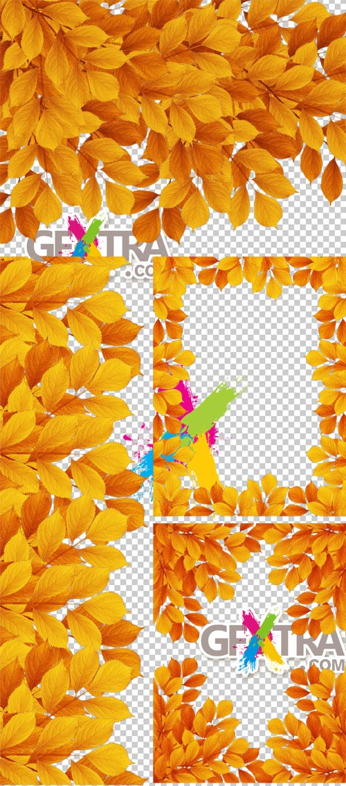 Golden Leaves - Autumn, 4xPNG & 5xJPG