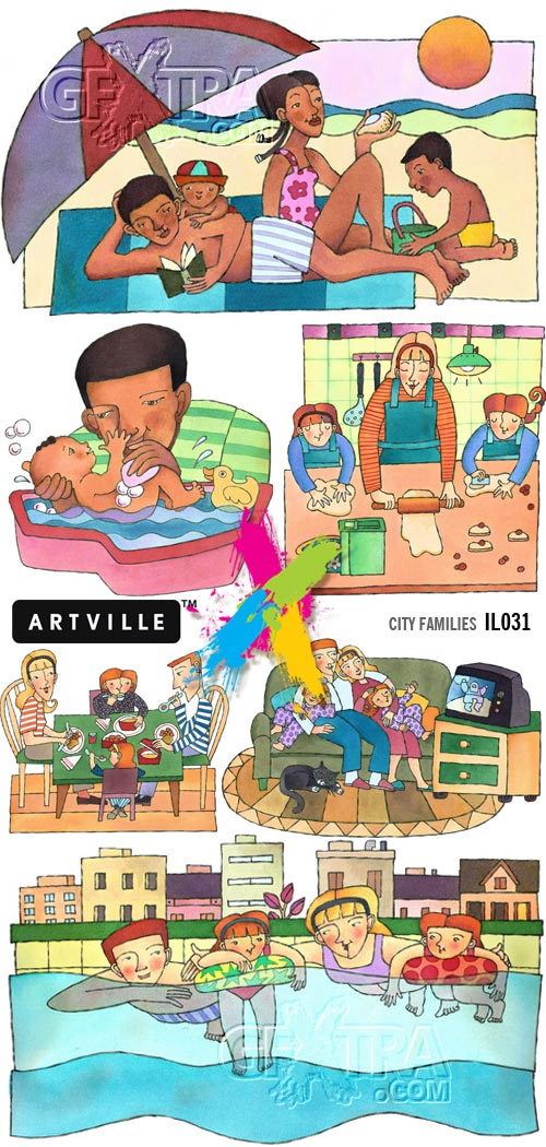 Artville Illustrations IL031 City Families