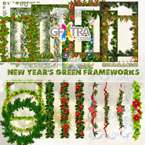 New Year\'s Green Frameworks 12xPNGs