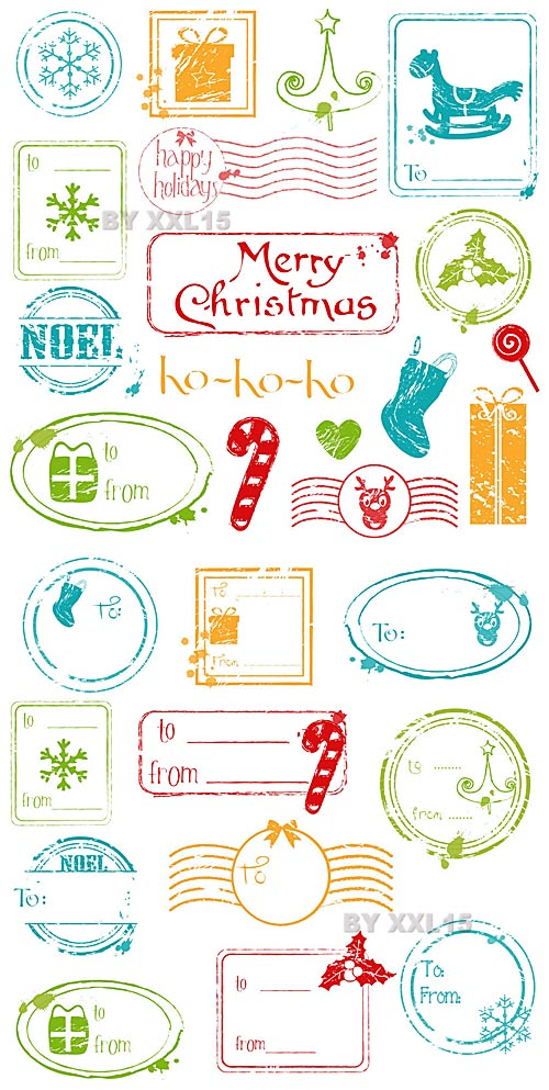 Christmas Grunge Stamps 5xEPS