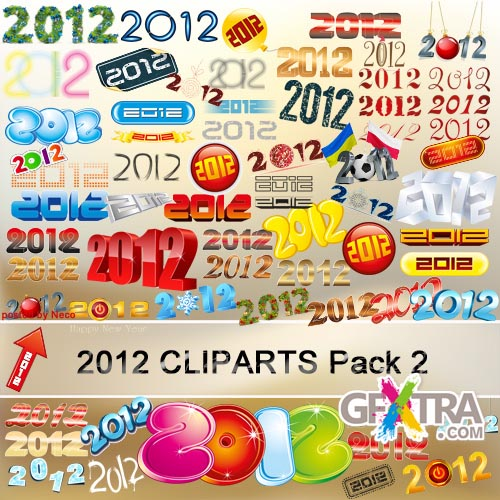 New Year Cliparts 2012 Pack 2