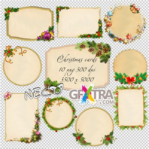 Christmas cards cliparts set 2