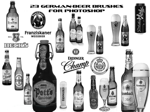 German Beer Labels Bottles Brushes