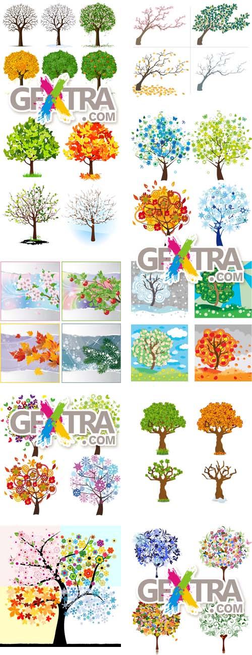 4 Mevsim Ağaç Vektörleri