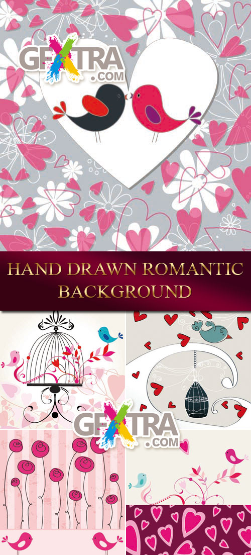 Hand Drawn Romantic Backgrounds 5xEPS