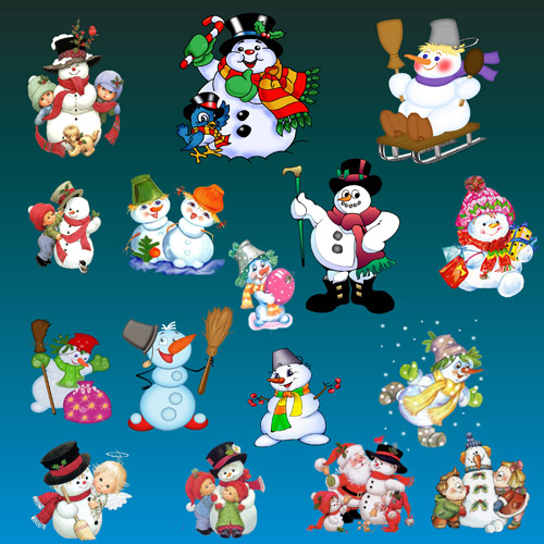 A collection of snowmen psd