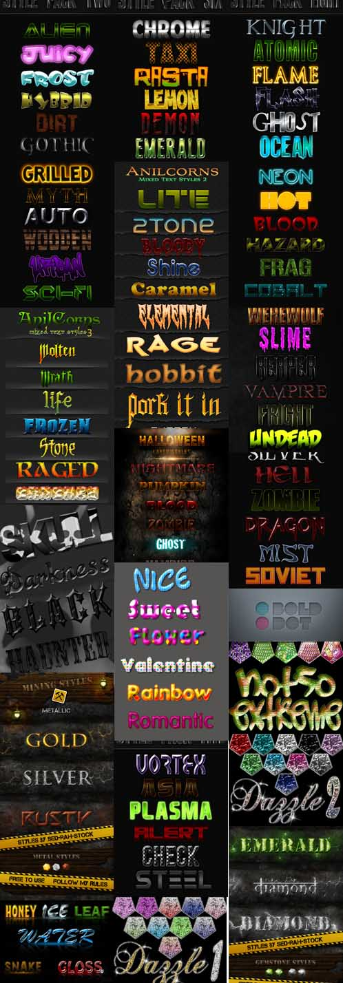 Text layer styles for Photoshop pack 19