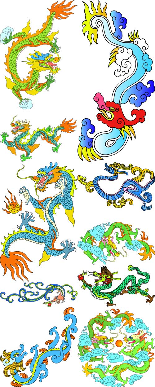 A collection of colorful dragons