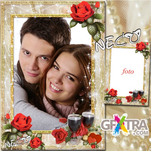 Frame with red roses - Elixir of Love