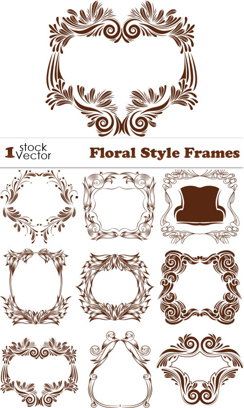 Floral Style Frames Vector